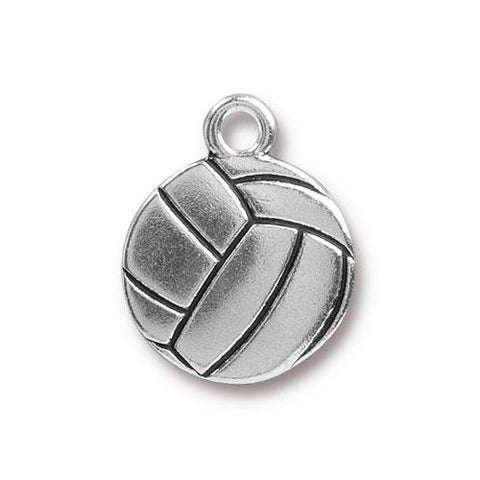0576-vol-sp Silver Plated Volleyball Charm (Package of 1 Charm)