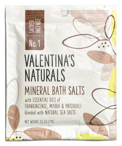 No. 1: Single Serve Mineral Bath Salts, Sacred Incense, 2.5 oz