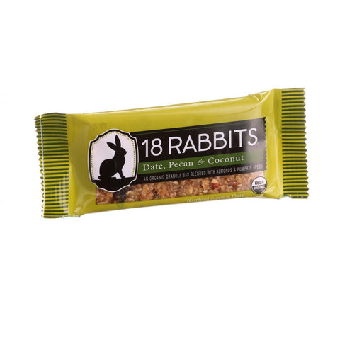 18 Rabbits Organic Granola Bar - Date Pecan and Coconut - Case of 12 - 1.6 oz Bars
