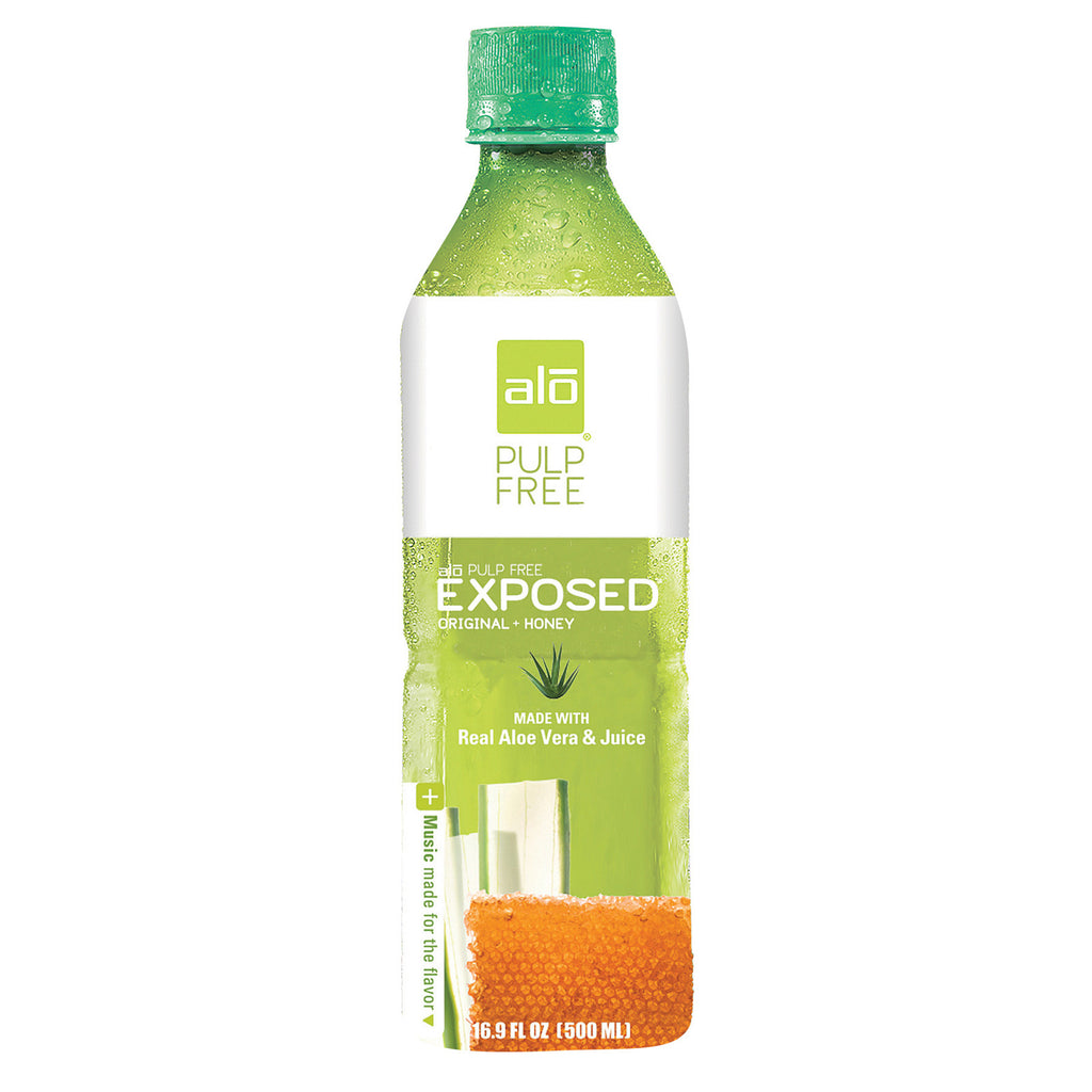 Alo Pulp Free Exposed Aloe Vera Juice Drink - Original and Honey - Case of 12 - 16.9 fl oz.