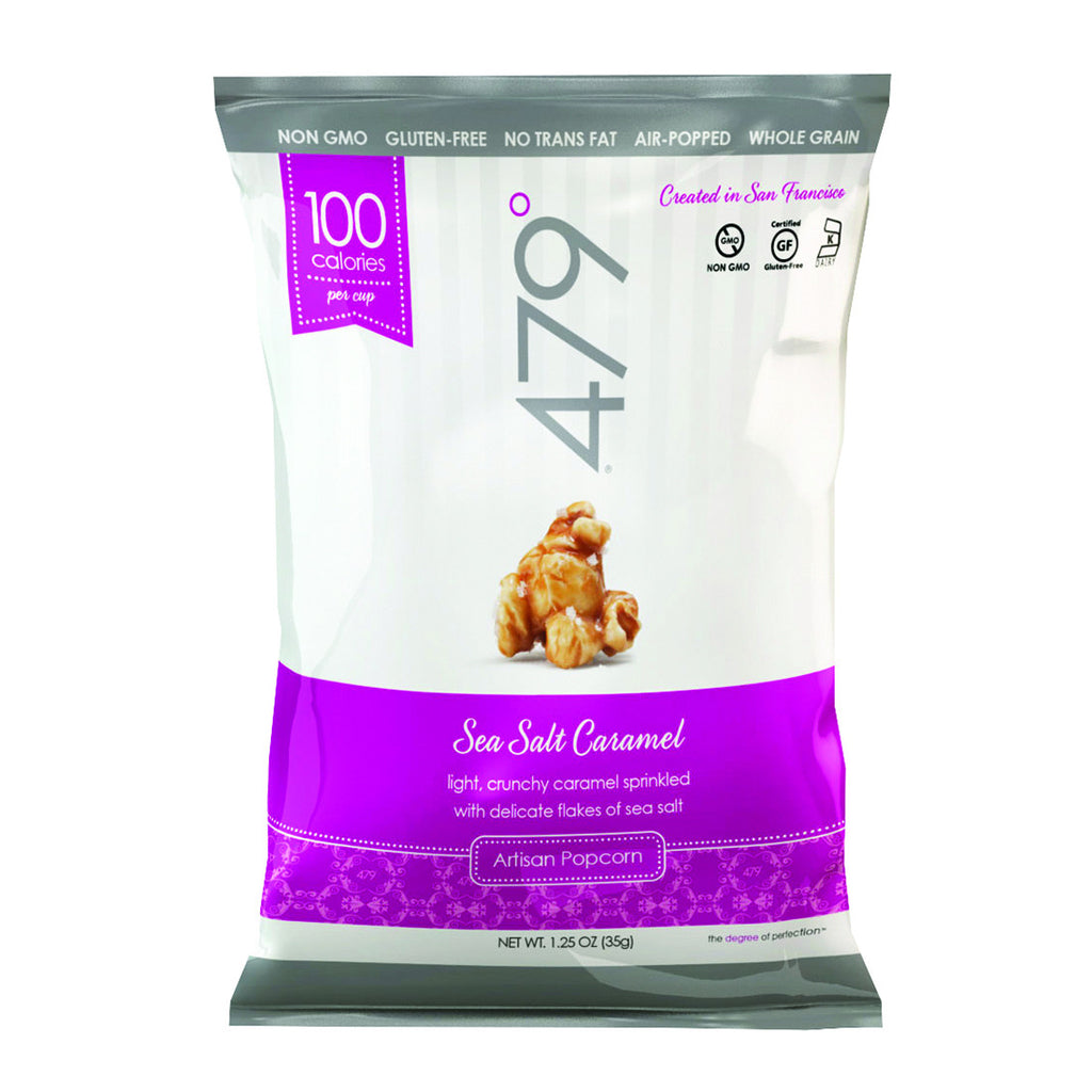 479 Degrees Artisan Popcorn - Sea Salt Caramel - Case of 24 - 1.25 oz.