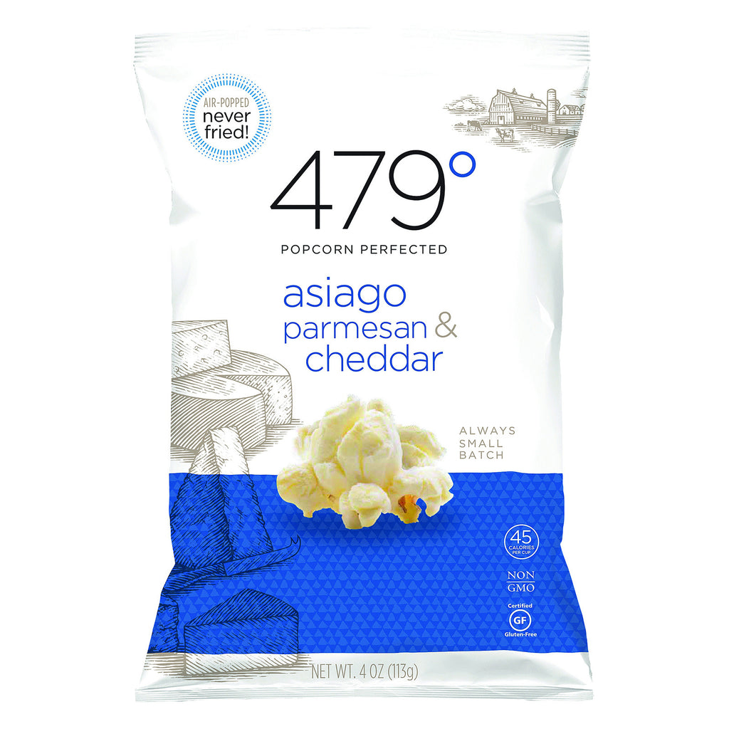 479 Degrees Artisan Popcorn - Asiago Parmesan and Cheddar - Case of 10 - 4 oz.