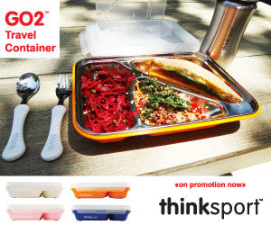 Perfect Back to School Item from ThinkSport The new sustainable food container from Thinksport! Modern and highly functional design. Each GO2 Travel Container includes three individually sealed off compartments to keep foods separate. Fork and spoon included in secure lid. No skid design and dishwasher safe. Just fill and GO! Perfect Back to School item.