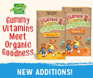 Gummy Vitamins Go Organic! Introducing two new additions to our gummy vitamin family!  Yummi Bears Organics® now offers immune supporting Vitamin C and bone building Vitamin D3. These awesome tasting gummies are certified organic and allergen, gluten, gelatin and dairy free. And made in the USA!  Contact Your Hero Sales Specialist Today.