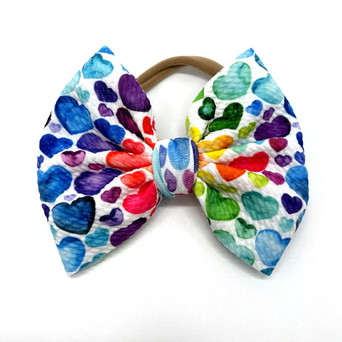 Ready to Ship Bow- Rainbow Hearts