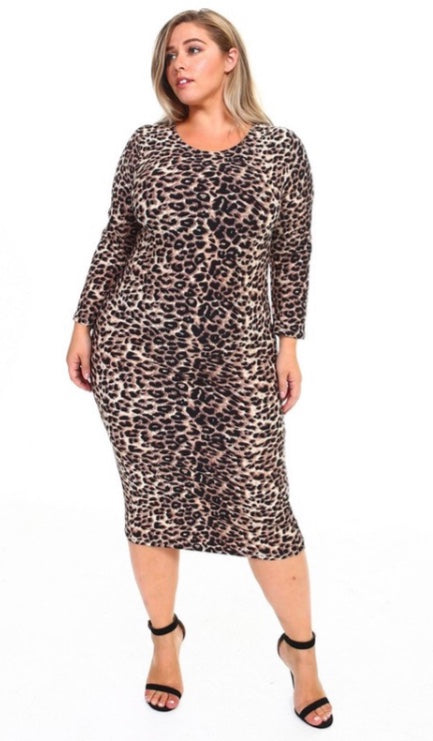 Leopard BodyShaping Midi Dress