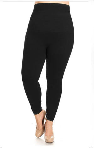 Plus Size High Waist Compression Leggings (One Size Fits Most)