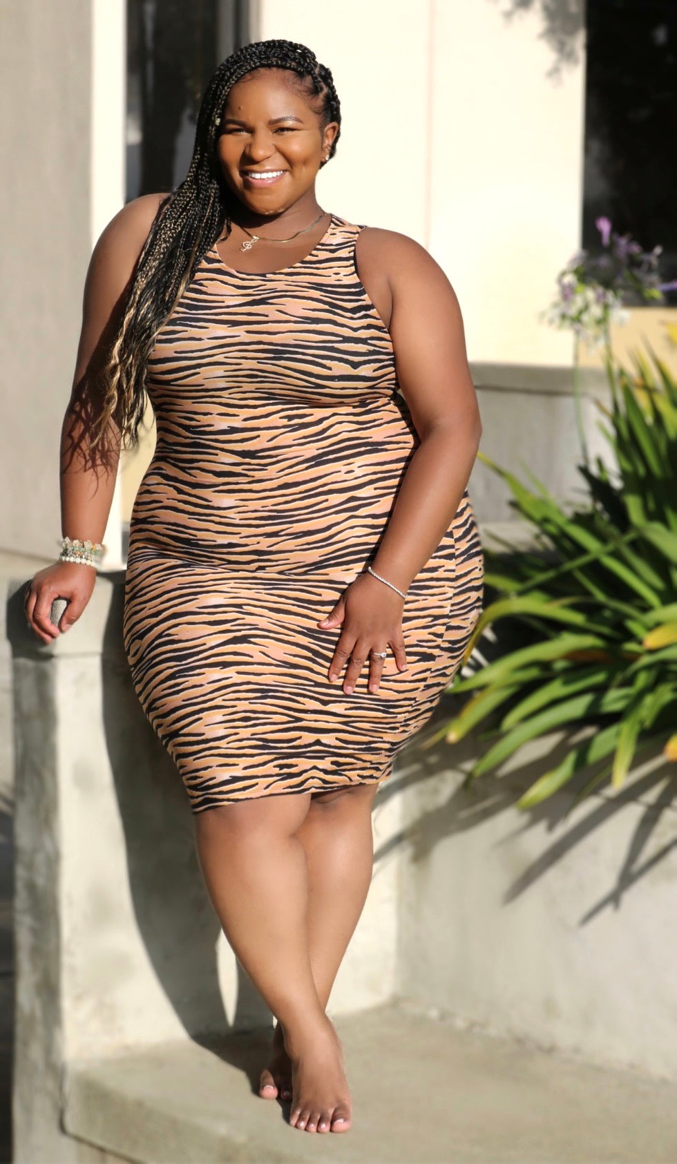 Tiger Midi Dress (Gold)