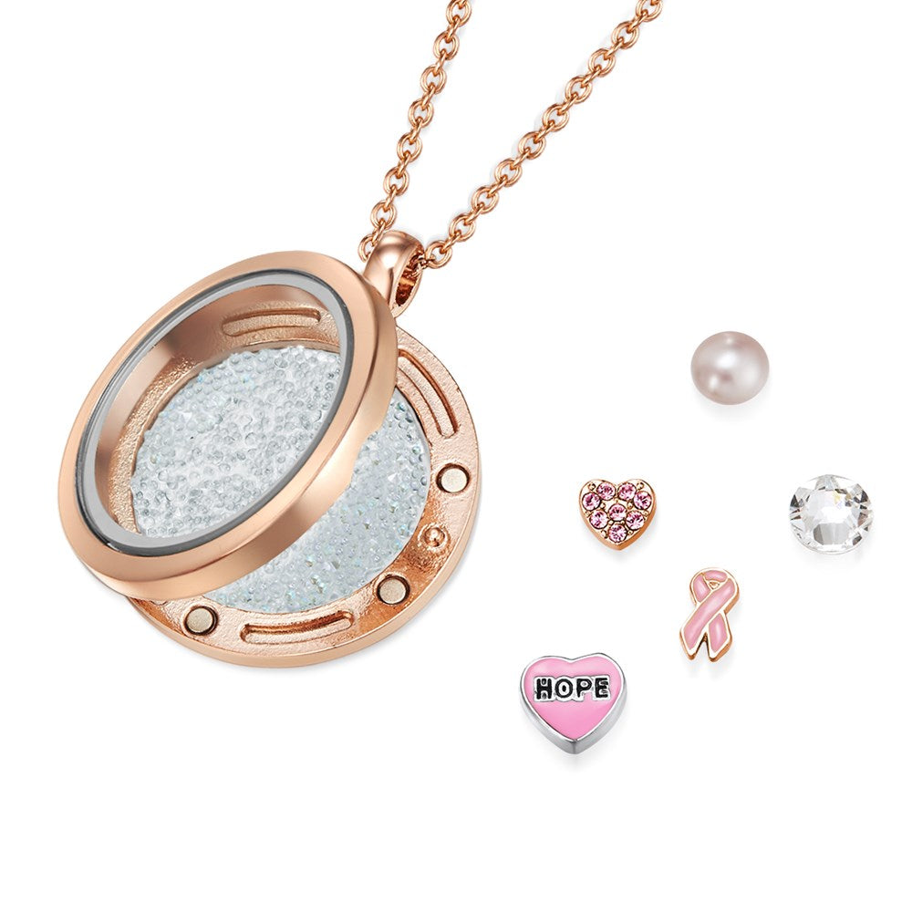 Rose Gold Keeping Faith Floating Charm Necklace