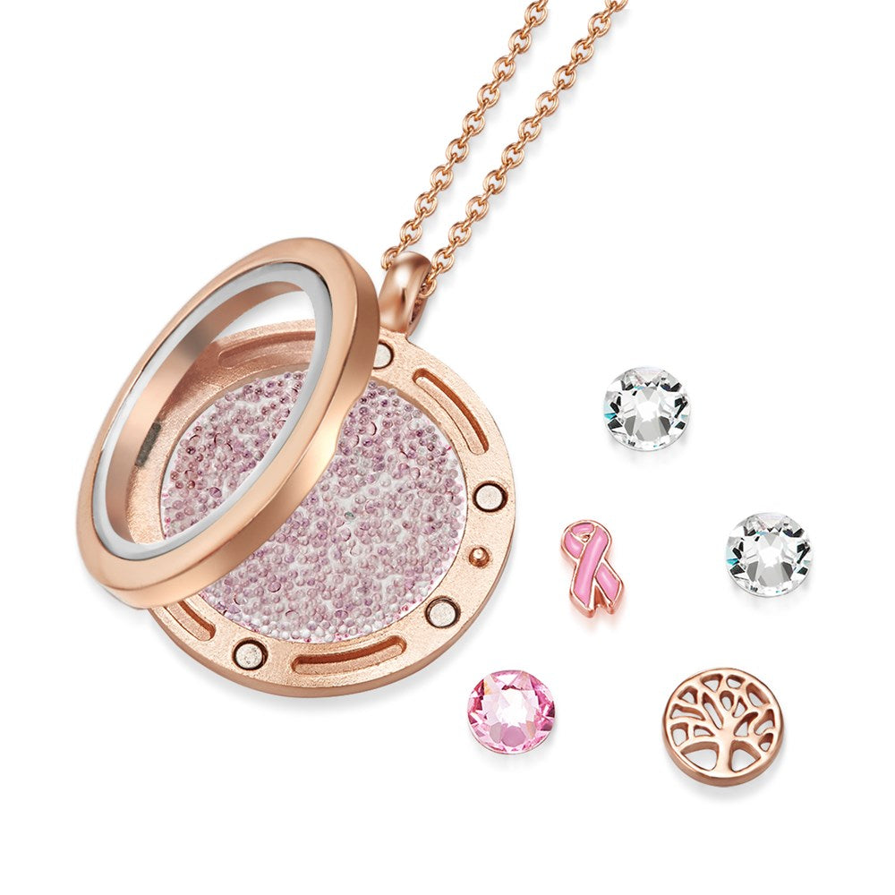 Rose Gold Enduring Tree of Life Floating Charm Necklace