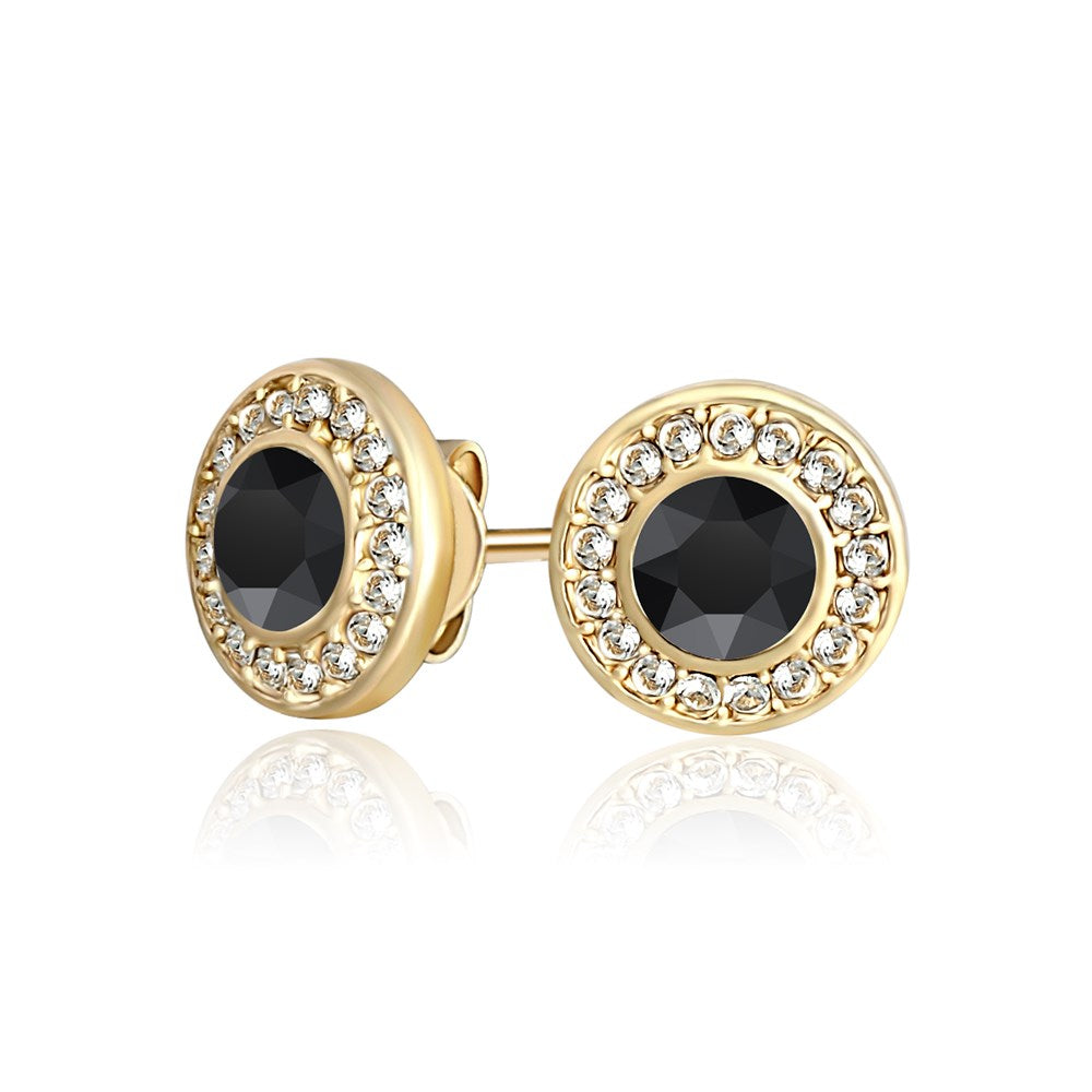 Black Mandala Earrings in Gold