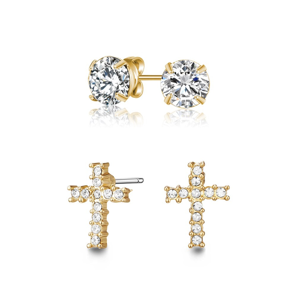 Golden Cross Earrings Set