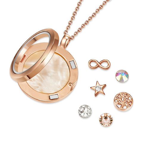 Rose Gold Timeless Tree of Life Floating Charm Necklace