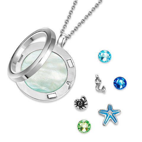 Ocean Eyes Floating Charm Necklace