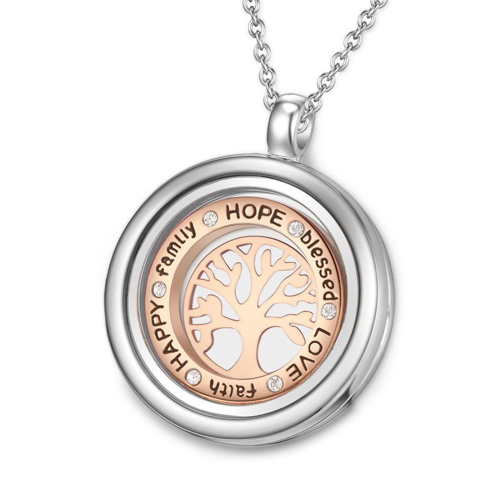 Inscribed Tree of Life Floating Charm Necklace