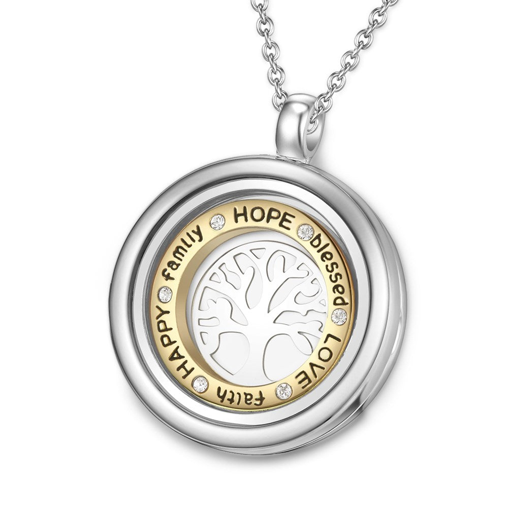 Inscribed Tree of Life Dual Floating Charm Necklace