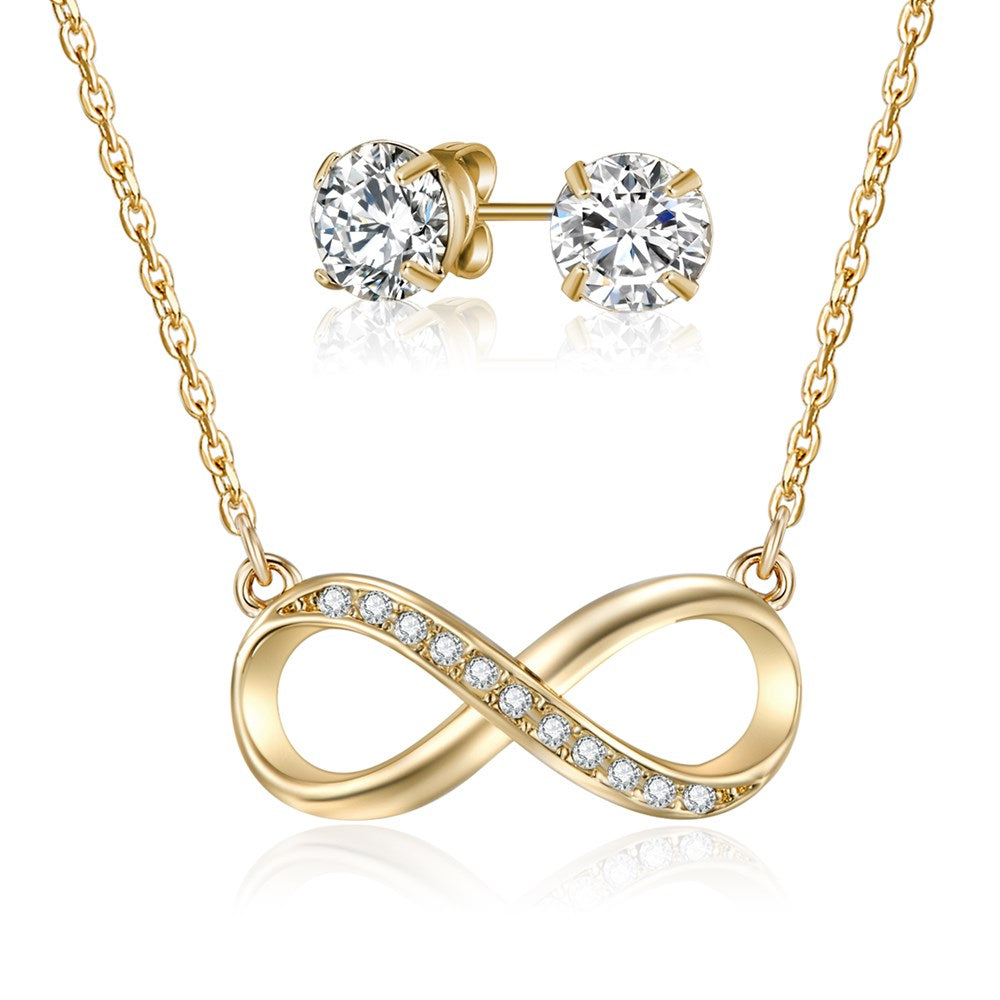 Gold Infinity Necklace & Earring Set