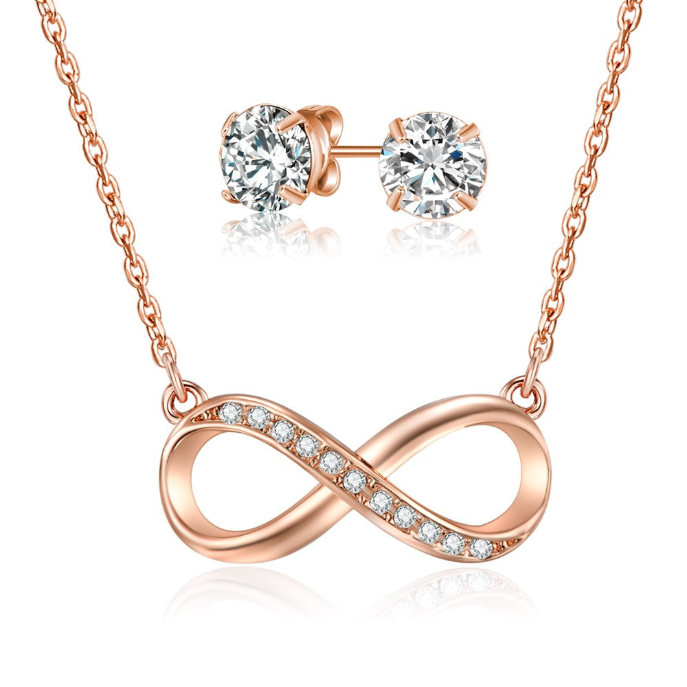 Rose Gold Infinity Necklace & Earring Set