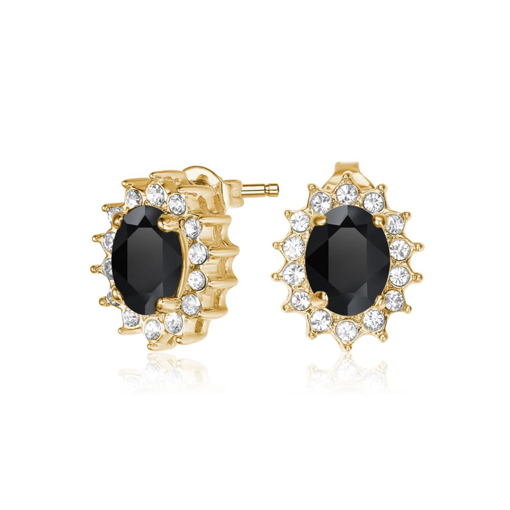 Black Windsor Earrings in Gold