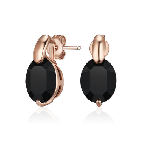 Black Alia Earrings in Rose Gold