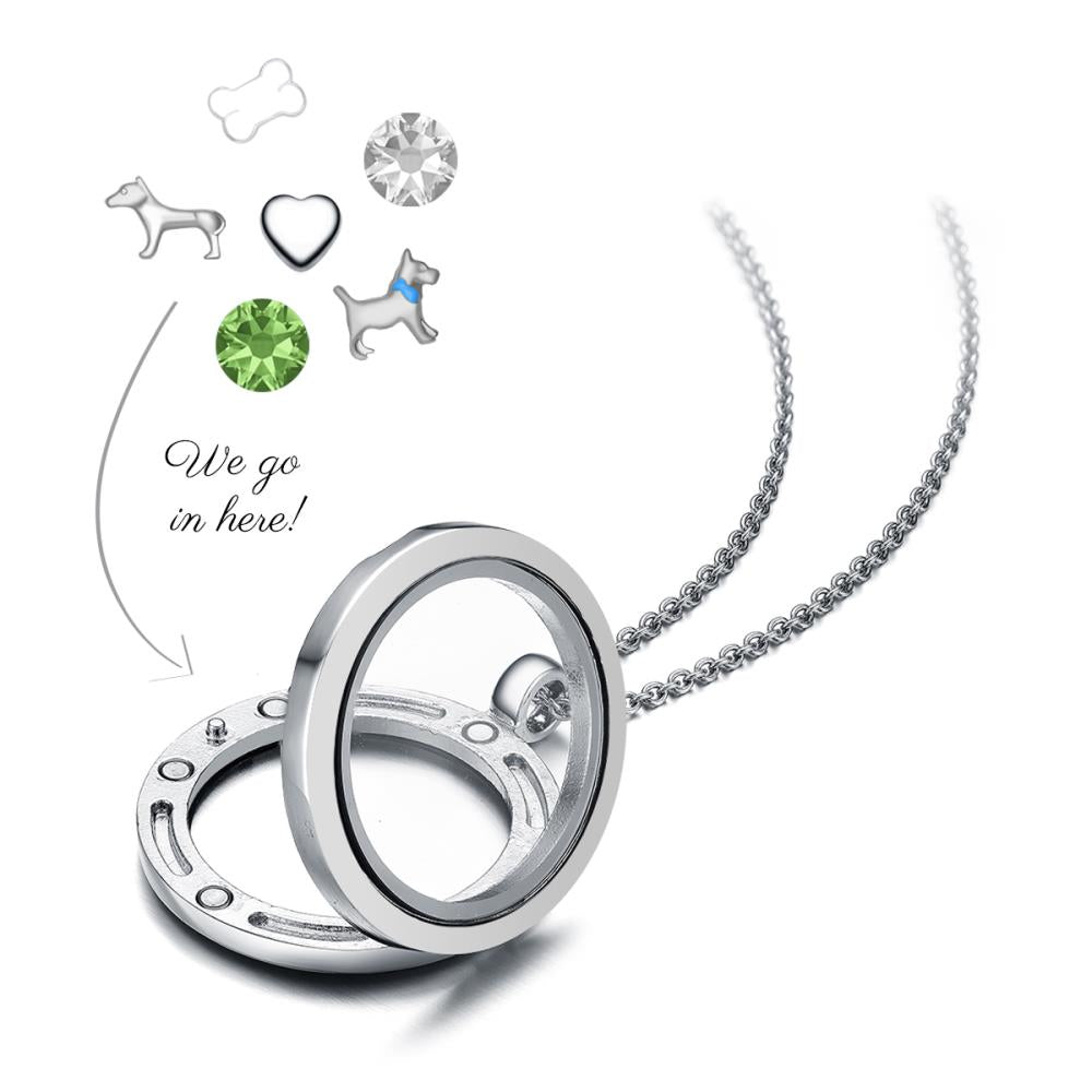 I Love Dogs Floating Charm Necklace