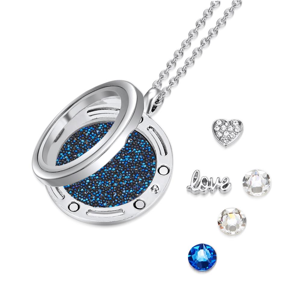 Blue Valentine Floating Charm Necklace