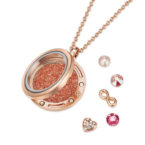 Rose Gold Infinity Floating Charm Necklace