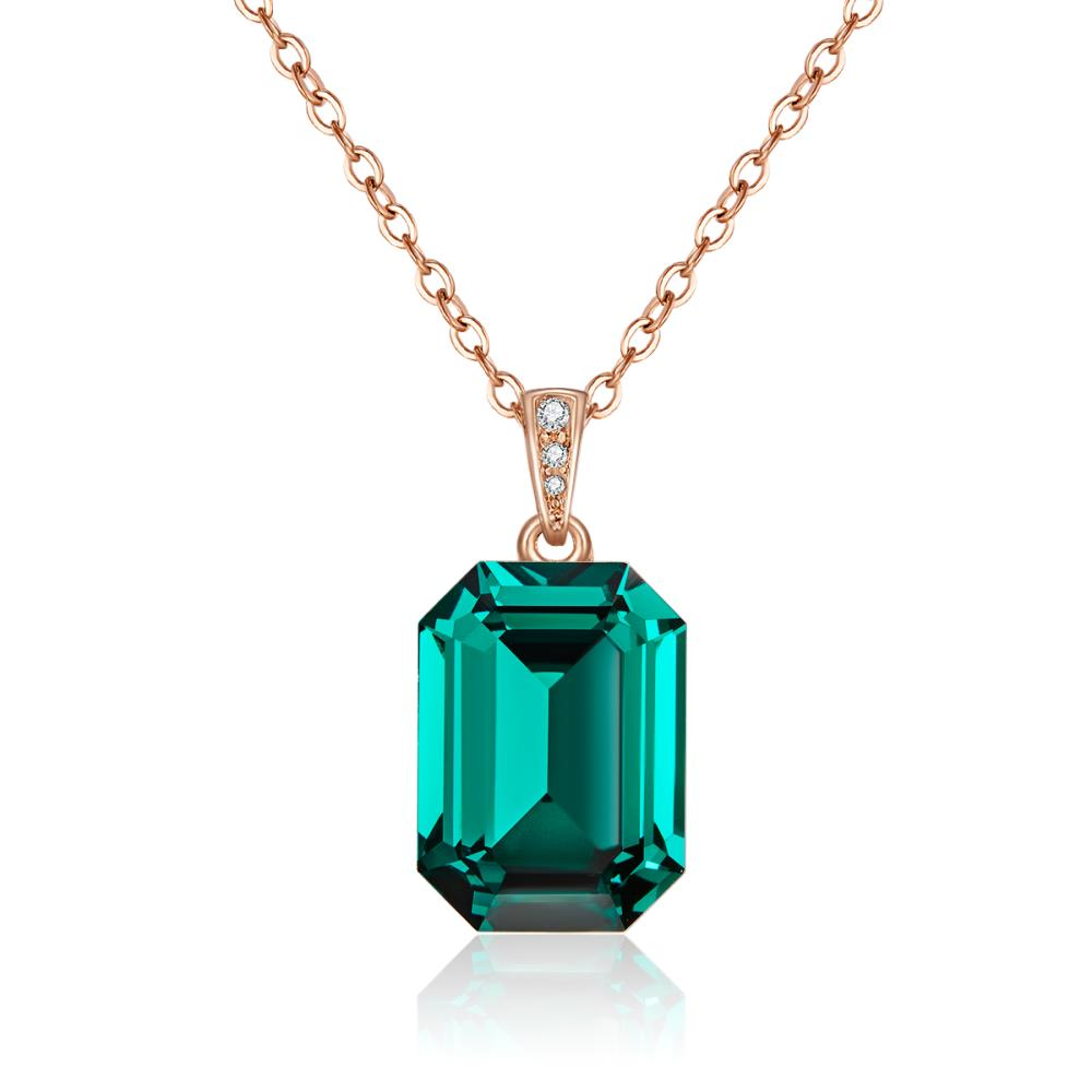 Rose Gold Laverna Emerald Necklace