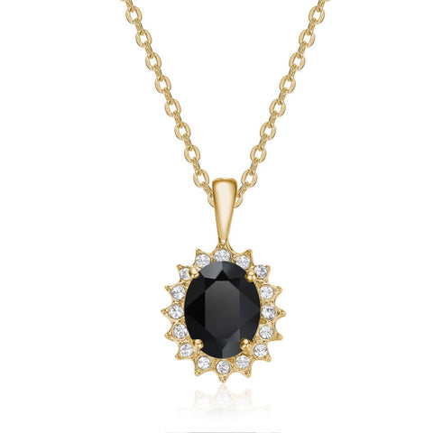 Black Windsor Necklace in Gold