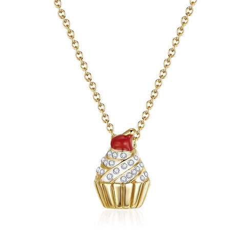 Over the Rainbow Gold Cupcake Necklace