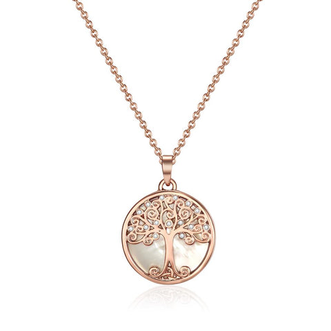 Rose Gold Willow Tree of Life Necklace