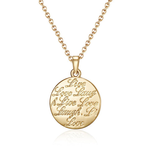Golden Mantra Live Love Laugh Necklace