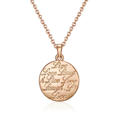 Rose Gold Mantra Live Love Laugh Necklace