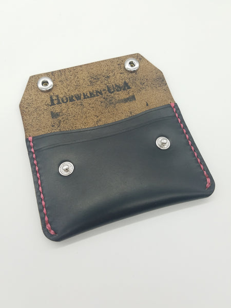 Railcar Wallet - Black Horween Chromexcel with Hot Pink thread