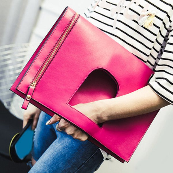 Stylish PU Leather and Zip Design Clutch Bag For Women