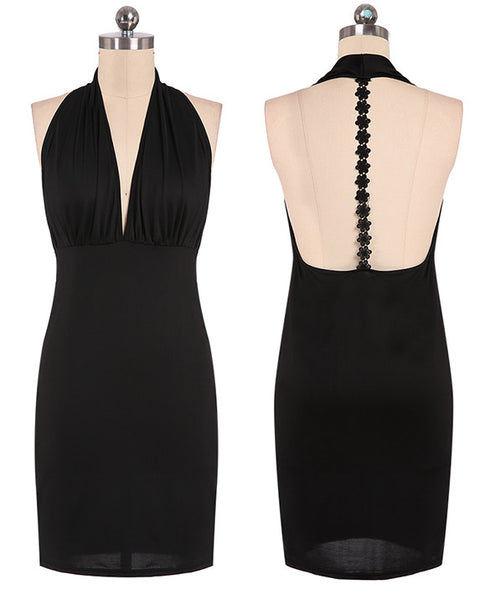 Sexy Deep V-Neck Black Backless Dress