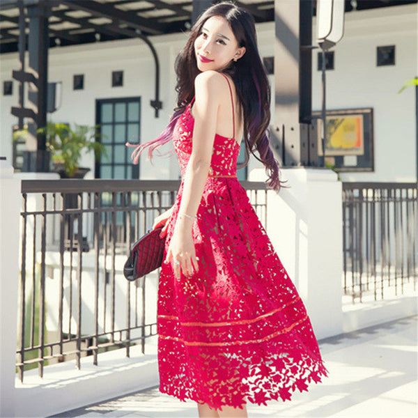 Spring Summer Sexy Fashion Women Dress Red White Lace Party Vintage Dress Party Dresses Sundress Plus Size