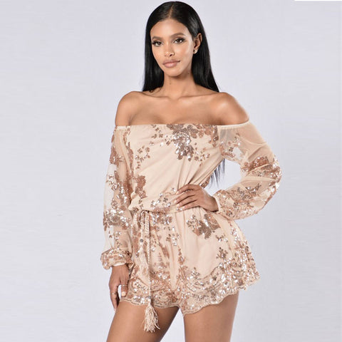 Slash Neck Off Shoulder Long Sleeve Sequin Gold Jumpsuit