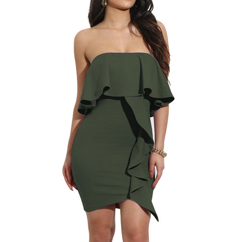 Off Shoulder Solid Strapless Ruffles Bodycon Dress