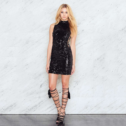 Sheath Sleeveless Sequined Dress