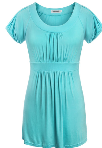 Women Short Sleeve Draped T-shirt Scoop Neck Flattering Tunic Tops