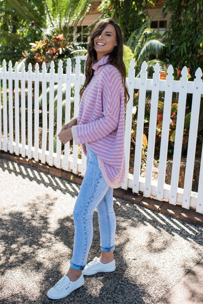 BECCA OVERSIZED KNIT - PINK STRIPE