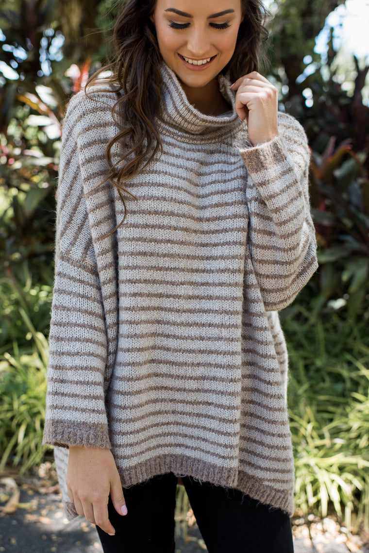 BECCA OVERSIZED KNIT - COFFEE STRIPE