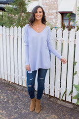 HARPER V NECK KNIT - LILAC