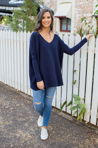 HARPER V NECK KNIT - NAVY