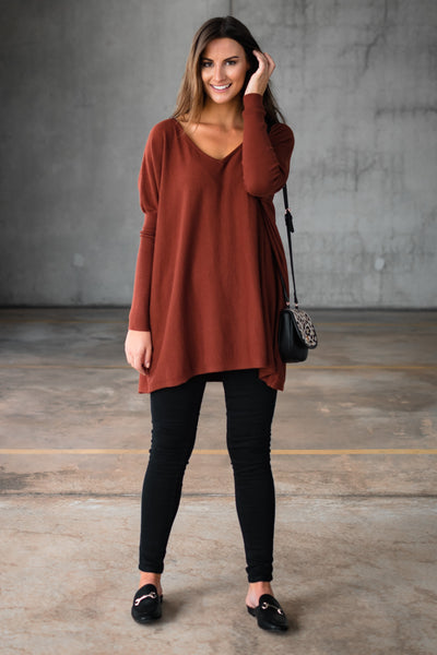 HARPER V NECK KNIT - RUST
