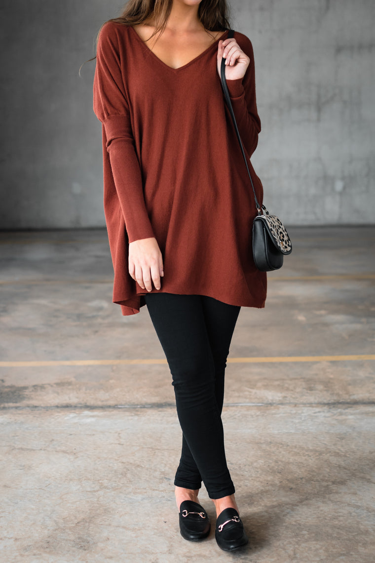HARPER V NECK KNIT - RUST (PREORDER)
