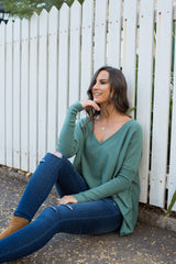 HARPER V NECK KNIT - TEAL