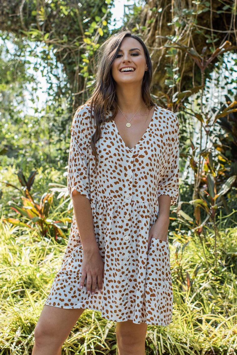 MAYA DRESS - WHITE SPOTTY