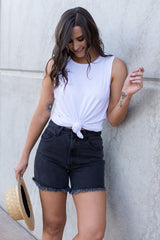 RYLIE DENIM SHORT - WASHED BLACK